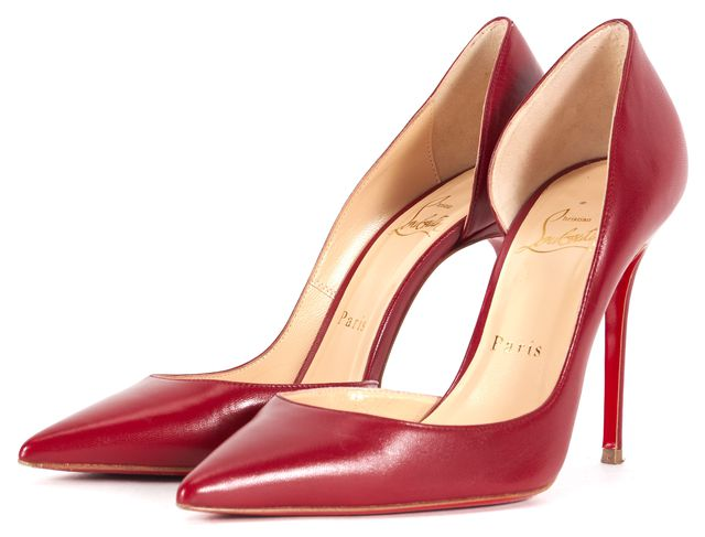 CHRISTIAN LOUBOUTIN Red Leather Iriza 100 Kid d'Orsay Point ToeHeels