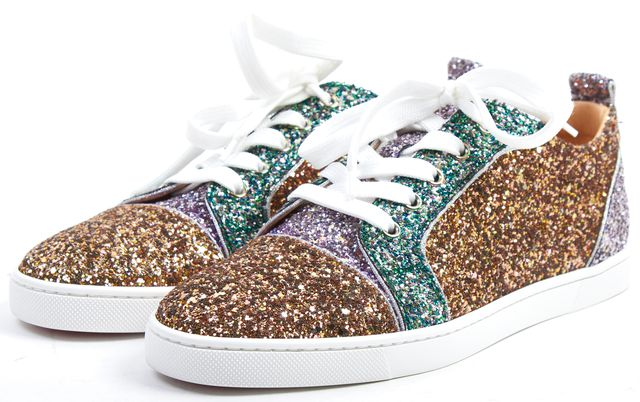CHRISTIAN LOUBOUTIN Gold Green Glitter Gondoliere Orlato Sneakers