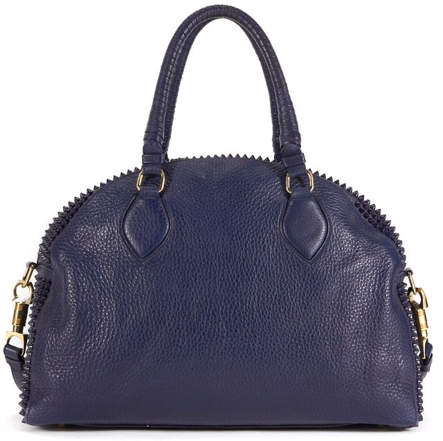 CHRISTIAN LOUBOUTIN Blue Panettone Spiked Leather Convertible Satchel