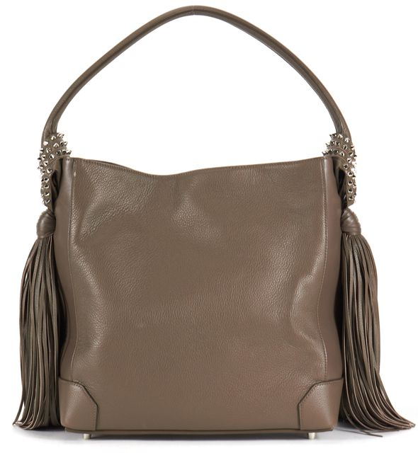 CHRISTIAN LOUBOUTIN Gray Studded Fringe Leather Eloise Hobo Bag