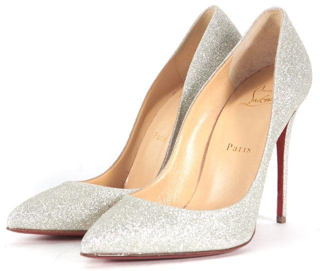 CHRISTIAN LOUBOUTIN Silver Glitter Pigalle Follies 100 Pumps