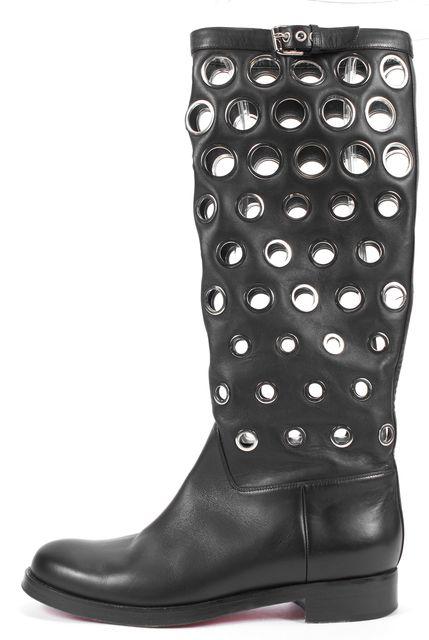 CHRISTIAN LOUBOUTIN Black Grommet Leather Apollobotta Knee-High Boots
