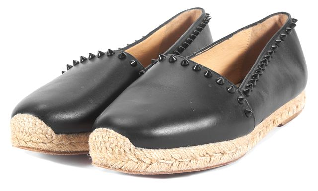 CHRISTIAN LOUBOUTIN Black Leather Ares Spike Espadrille Flats