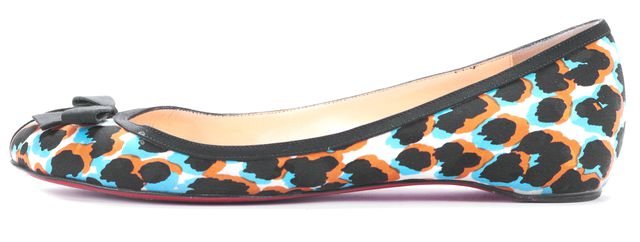 CHRISTIAN LOUBOUTIN Brown Black Blue Multi-color Abstract Flats