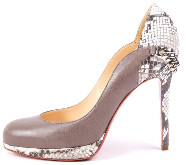 CHRISTIAN LOUBOUTIN Gray Doremi 120 Nappa/Python Pump Heels