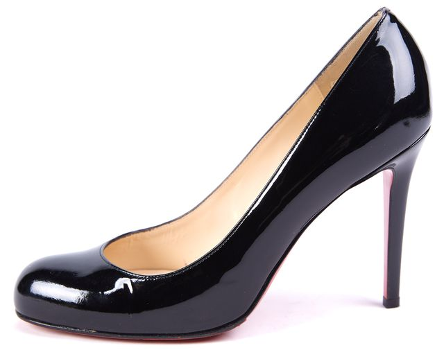 CHRISTIAN LOUBOUTIN Black Patent Leather Round Toe Heels