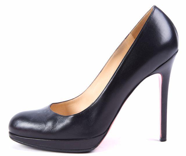 CHRISTIAN LOUBOUTIN Black Leather Round Toe Heels