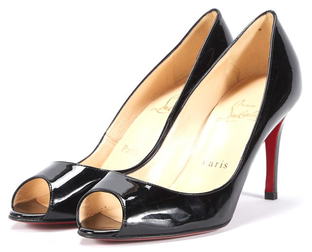 CHRISTIAN LOUBOUTIN Black Patent Leather Peep-Toe Pumps Heels