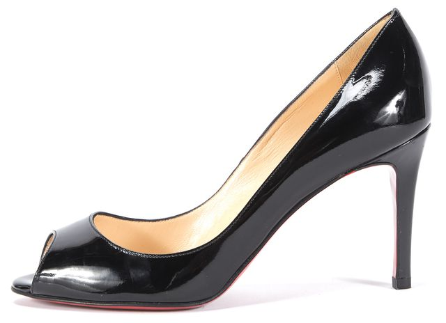 CHRISTIAN LOUBOUTIN Black Patent Leather Peep-Toe Pumps Heels