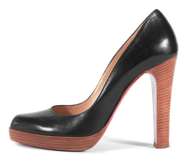 CHRISTIAN LOUBOUTIN Black Leather Tan Pump Heels Size 39.5 US 9.5