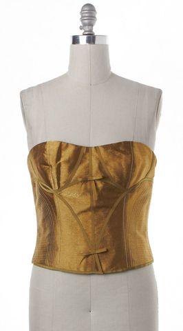 CAROLINA HERRERA Gold Metallic Strapless Bustier Corset Top