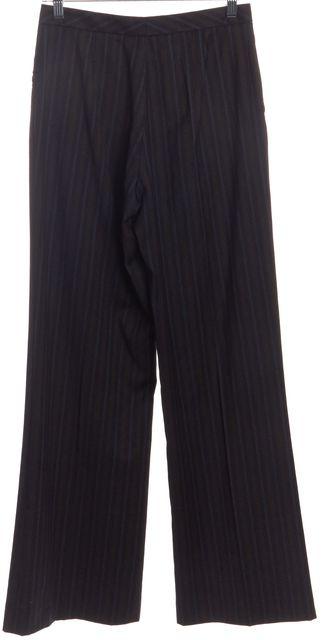 CAROLINA HERRERA Navy Multi Color Pinstripe Wool Trousers Pants