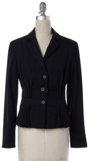 CAROLINA HERRERA Black Wool Button Down Gathered Blazer