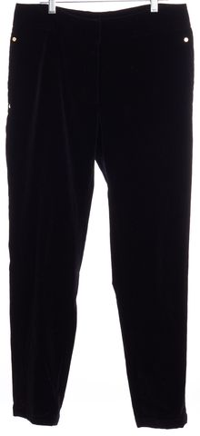 CAROLINA HERRERA Black Velvet Straight Leg Dress Pants