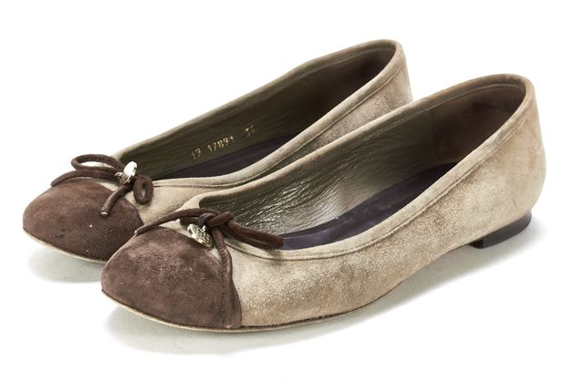 CAROLINA HERRERA Green Brown Suede Ballet Flats