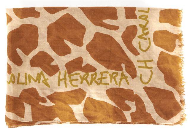 CH CAROLINA HERRERA Brown Beige Giraffe Print Cashmere Wool Silk Scarf
