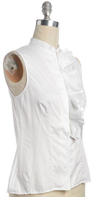 CAROLINA HERRERA White Casual Button Down Ruffle Sleeveless Blouse Top