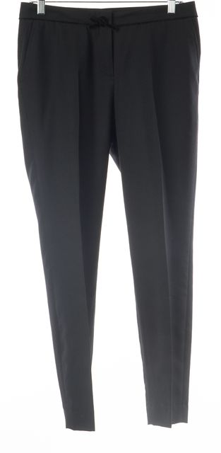 CH CAROLINA HERRERA Black Velvet Bow Trim Slim Leg Pleated Trousers Pants