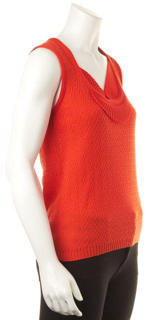 CAROLINA HERRERA Orange Wool/Cashmere Sleeveless Summer Knit Top