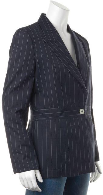 CAROLINA HERRERA Navy Blue White Striped Buttoned Blazer