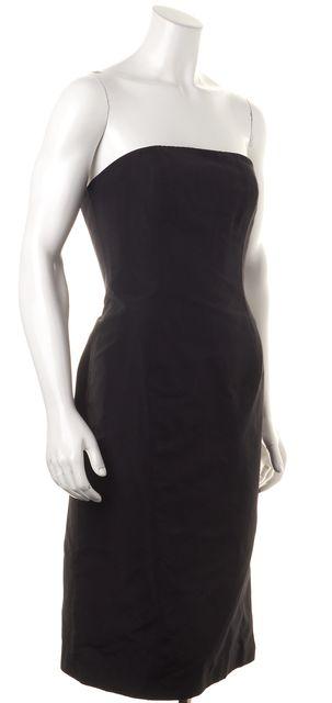 CAROLINA HERRERA Black Cotton Silk Strapless Sheath Dress