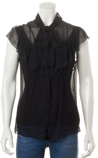 CAROLINA HERRERA Black Silk Ruffled Cap Sleeve Sheer Blouse Top