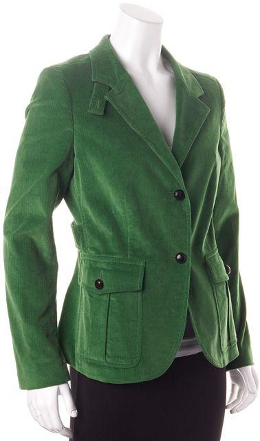 CH CAROLINA HERRERA Green Cotton Corduroy Two Button Blazer