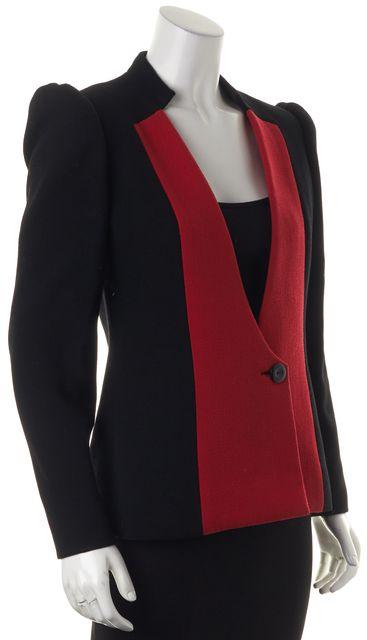 CAROLINA HERRERA Black Red Colorblock Wool One Button Blazer