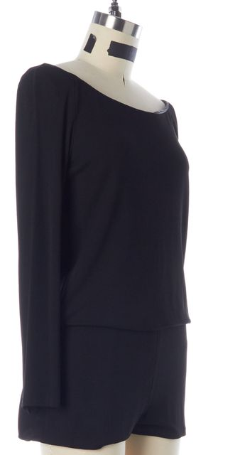 CAROLINA HERRERA Black Jersey Long Sleeves Open Back Blouson Romper