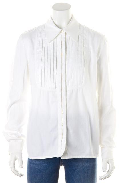 CAROLINA HERRERA White Tuxedo Pintuck Pleated Bib Button Down Shirt Blouse