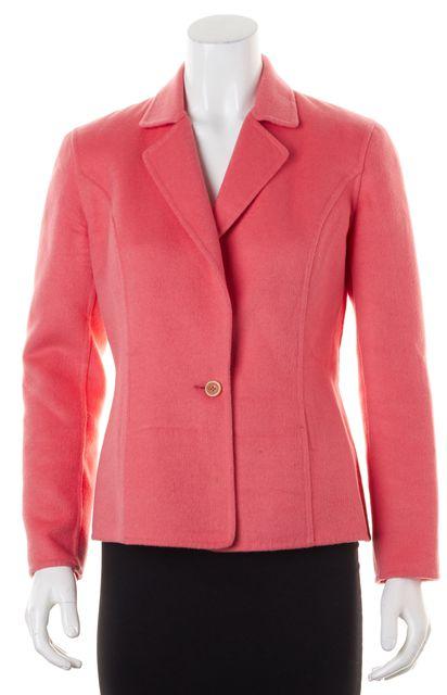 CAROLINA HERRERA Pink Wool Cashmere Single Button Basic Jacket