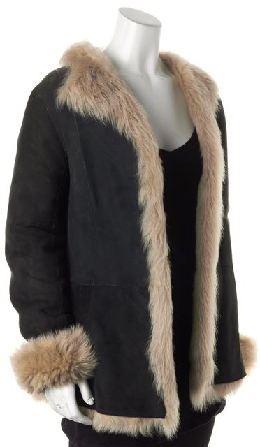 CAROLINA HERRERA Gray Beige Suede Shearling Lined Open Coat