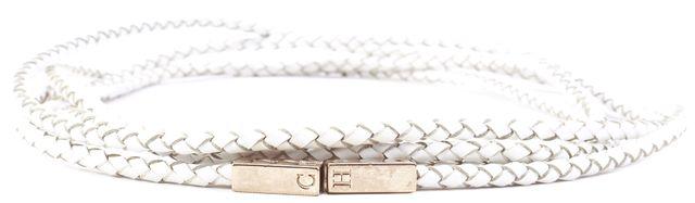 CAROLINA HERRERA Black Gold Tone Hardware Textured Leather Belt