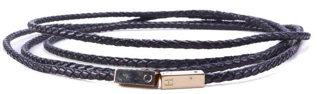 CAROLINA HERRERA White Gold Tone Hardware Textured Leather Belt