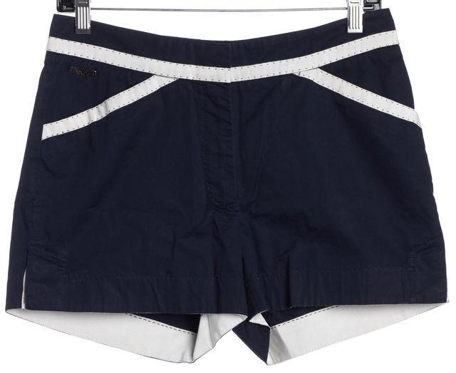 CAROLINA HERRERA Navy Blue White Trim Chino Shorts