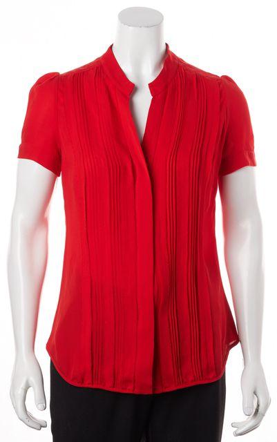 CAROLINA HERRERA Red Short Sleeve Silk Blouse Top