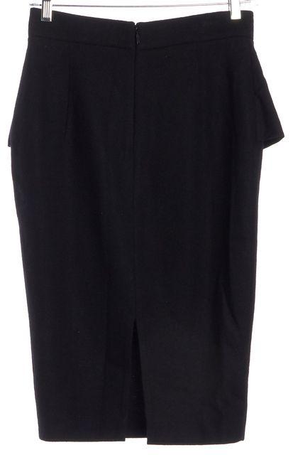 CAROLINA HERRERA Black Wool Ruffle Pencil Skirt