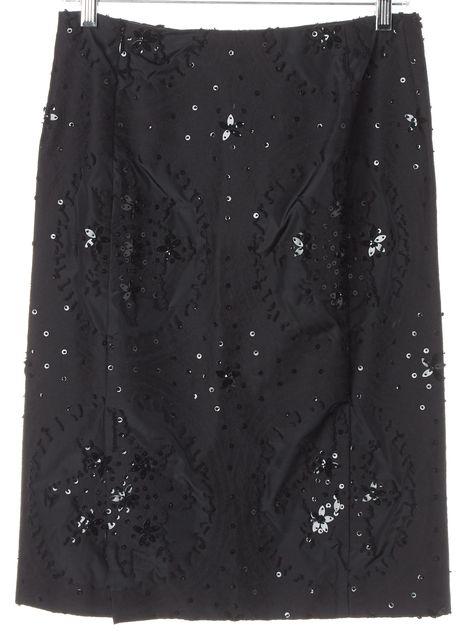 CAROLINA HERRERA Black Lace Sequin Pencil Skirt