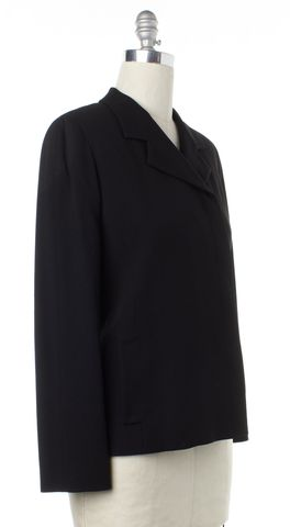 CALVIN KLEIN COLLECTION Black Double Breasted Jacket Fits Like a L