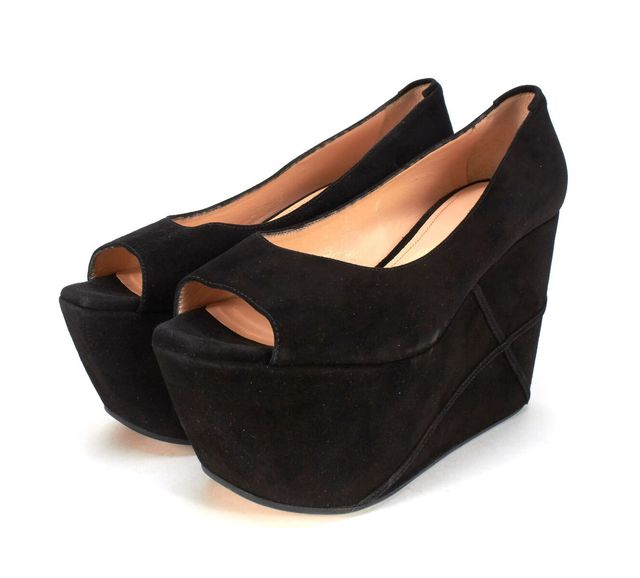 CALVIN KLEIN COLLECTION Black Suede Leather Platform Peep Toe Wedges