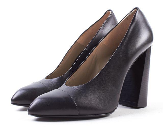 CALVIN KLEIN COLLECTION Black Leather Pump Heels
