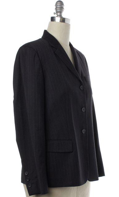 CALVIN KLEIN COLLECTION Gray Striped Wool Blazer