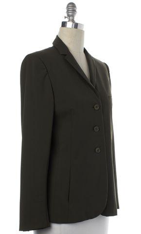 CALVIN KLEIN COLLECTION Olive Green Wool Blazer Jacket