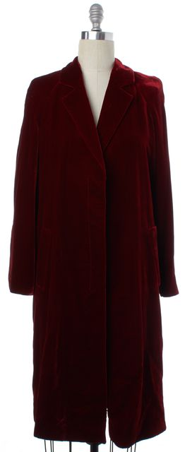 CALVIN KLEIN COLLECTION Red Velvet Button Down Longline Coat
