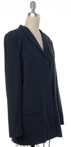 CALVIN KLEIN COLLECTION Navy Blue Wool Hidden Button Coat