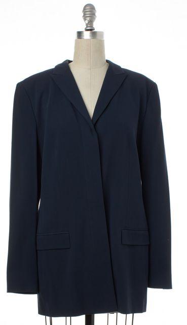 CALVIN KLEIN COLLECTION Navy Blue Wool Hidden Button Coat