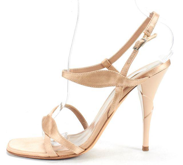 CALVIN KLEIN COLLECTION Beige Satin Open-toe Strappy Heels
