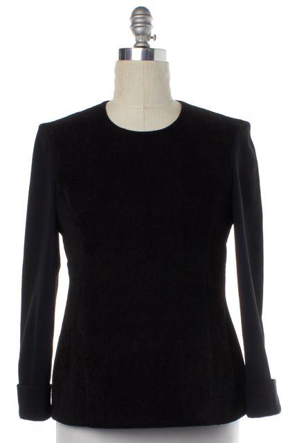 CALVIN KLEIN COLLECTION Black Multi-Texture Long Sleeve Linen Top