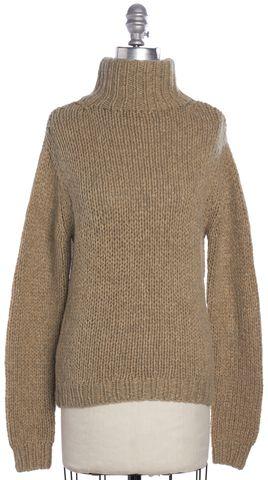 CALVIN KLEIN COLLECTION Beige Cashmere Knit Turtleneck Sweater Size S