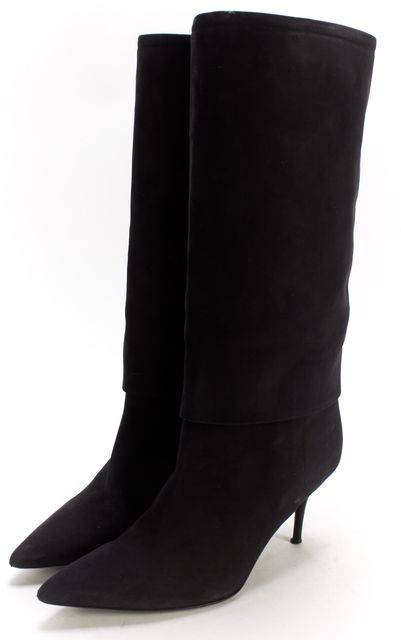 CALVIN KLEIN COLLECTION Black Nubuck Leather Pointed Toe Mid-Calf Boots